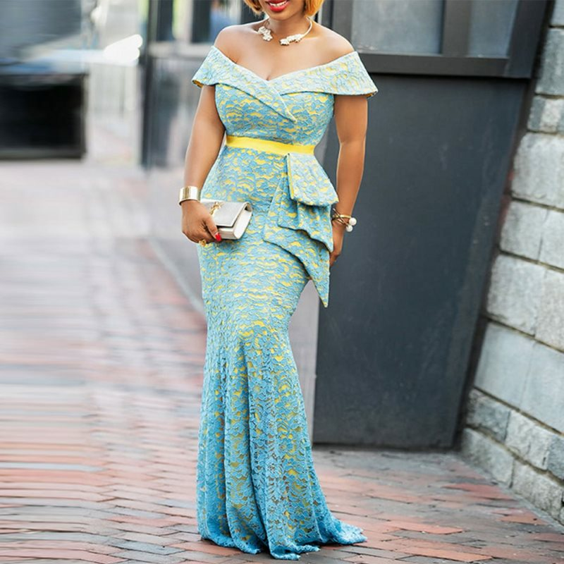 US $27.13 45% OFF|Women Maxi Dresses Casual Elegant Blue Plus Size Mermaid  High Waist Off Shoulder Falbala Lace Female Fashion Dinner Long Dress-in ...