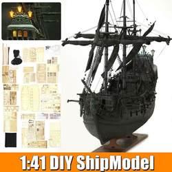 LABA DIY Handgemaakte Montage Schip Met LED Light 1:41 Schaal Houten Zeilboot Model Kit Black Pearl Piratenschip voor kinderen