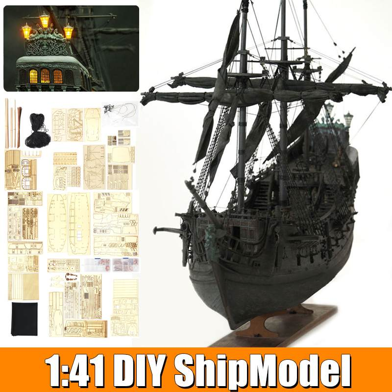 LABA DIY Handmade Assembly Ship With LED Light 1:41 Scale Wooden Sailing Boat Model Kit Black Pearl  Ship For Children