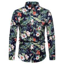 Hawaiian Shirt Men Dress Floral printed Fashion Long-sleeved Flower blouse men Green White