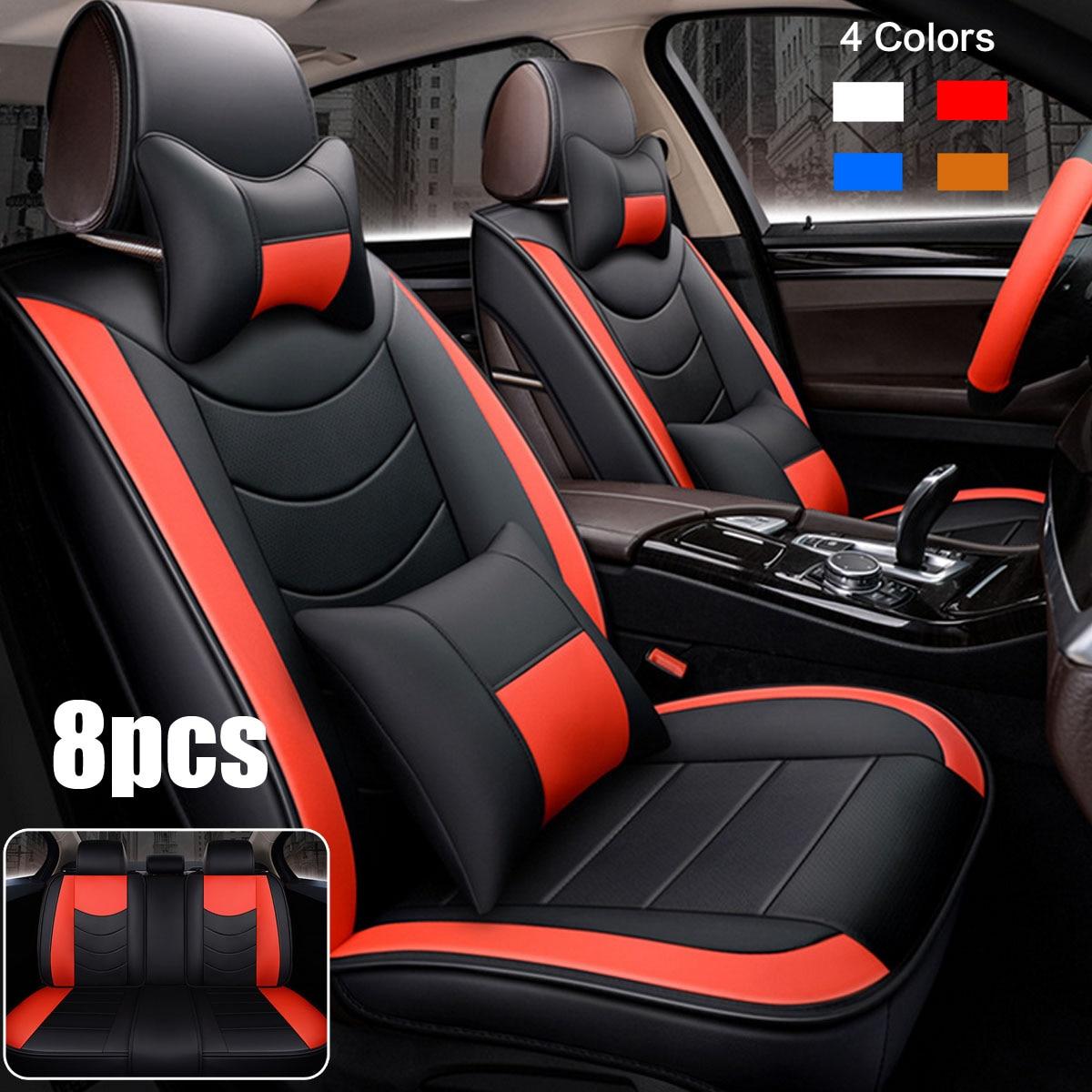 Универсальный автомобильный чехол для сиденья кожаный Авто Подушка зима согревающий Передний + заднее сиденье чехлы с рулевым колесом крыш