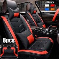 Универсальный чехол для автомобильного сиденья кожаный Авто Подушка зимний утеплитель передние + задние чехлы для сидений с крышкой рулево