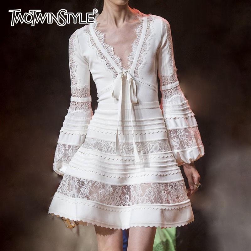 TWOTWINSTYLE Patchwork Lace Dress Women V Neck Lantern Long Sleeve Lace Up Women s Dresses Elegant