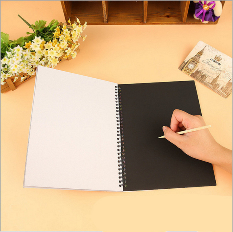 Ezone Colorful Scratch Picture Notebook Black Paper Book For Kids Painting Graffiti Scrawl Notebook Drawing Book Stationery Gift