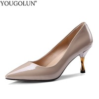 2e8b0630a Women High Heels Genuine Leather Ladies Party Heel Woman Black Apricot Wine  Red Large Size 40