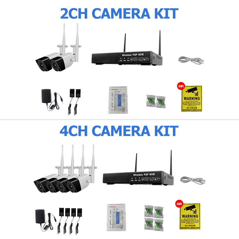 Wetrans Security Camera System 1080P Audio HD CCTV Wifi Camera NVR Surveillance Kit Wireless Outdoor Waterproof 4CH 2CH