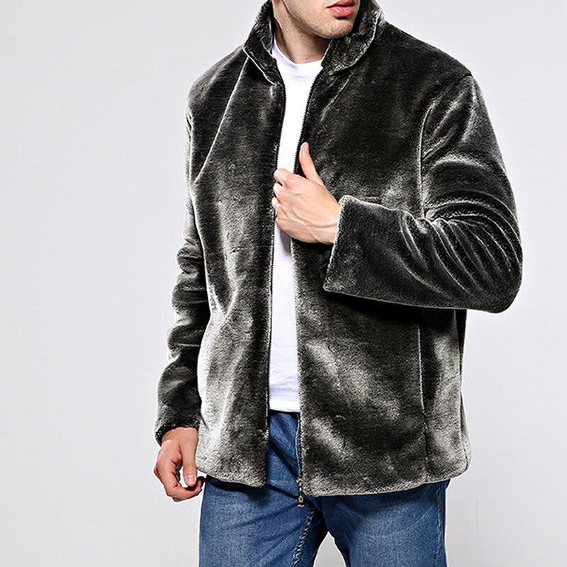 Artificielle Manteau Fourrure Veste dark D'hiver Mode Taille Avertir brown 4xl Plus Casual Outwear Blue De Vêtements Black Des Faux Turn Hommes Collier Down silver La qwxEz4