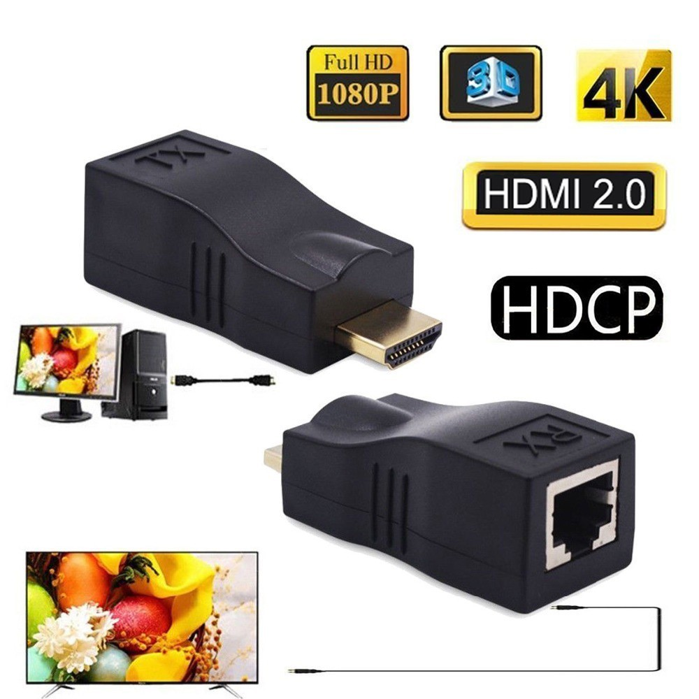 Koqit HDMI 2.0 Extender Repeater 30M 98ft 4K 3D HDMI To RJ45 Cat6 Network Ethernet 4Pair Patch Cord UTP Cable Adapter HDCP HDTV