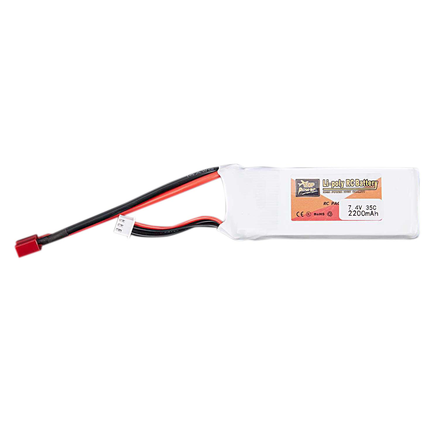 ZOP POWER 7.4V Zop Power 7.4V 2200Mah 2S 35C Lipo Battery T Plug for RC Plane car toy RC boat accessories for remote control toy image