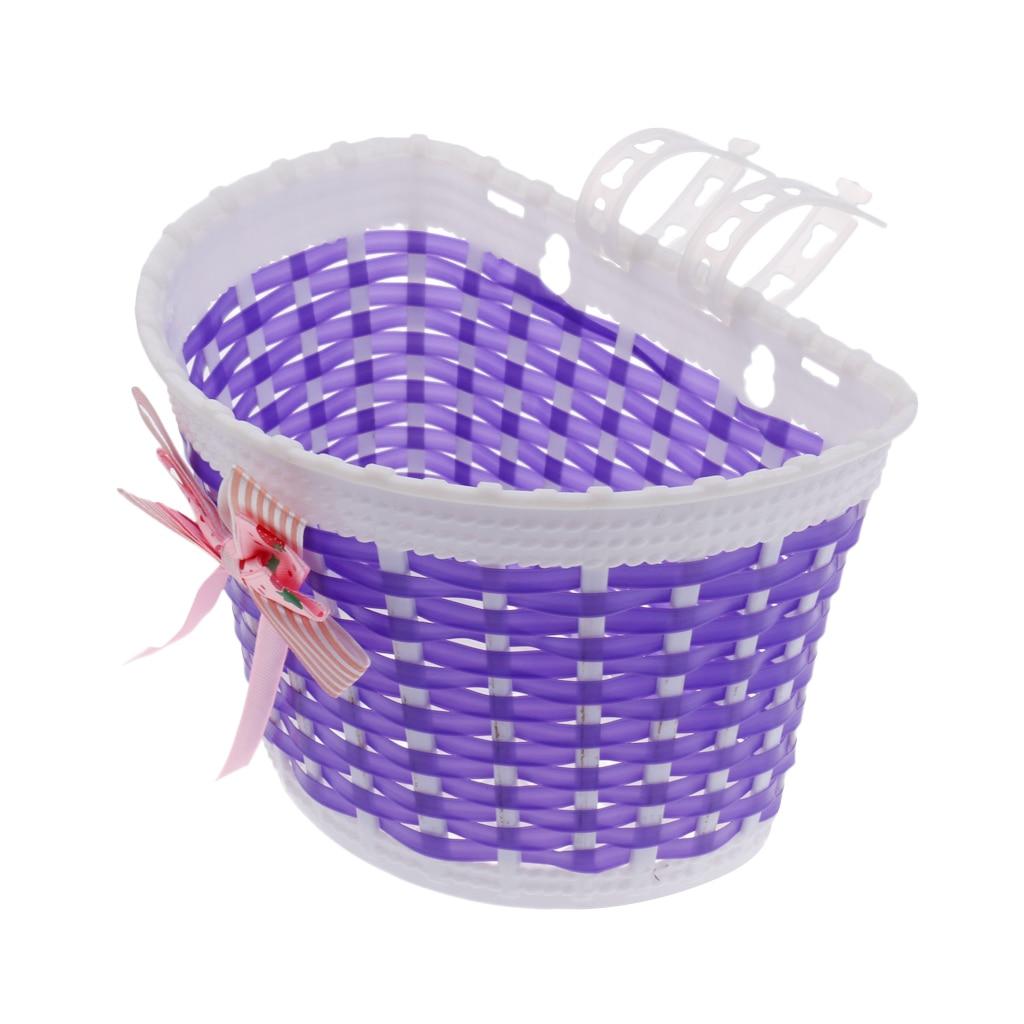 Kids Girls Bike Pannier Bicycle Bowknot Front Basket Shopping Bag Detachable