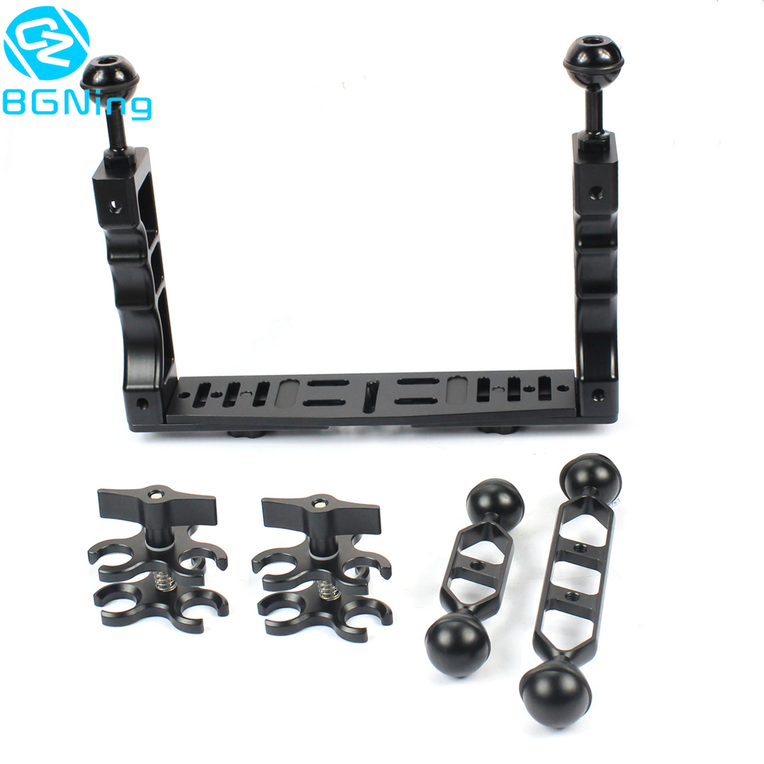 Underwater Tray Handheld Stabilizer Rig Grip Housing Diving Flash Light LED W Butterfly Clip Ball Head