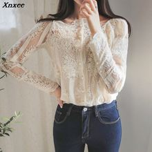 Xnxee Spring Summer Women Sexy Slash Floral Embroidery Blouses Single Breasted Lace Long Sleeve Organza Tops Shirts blusa