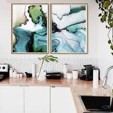 Современная акварельная картина на холсте мраморная зеленая