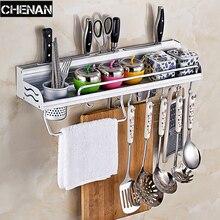 Alacena de aluminio utensilios de cocina especias vajilla estante almacenamiento cubertería gancho organizador de cocina toalla plegable