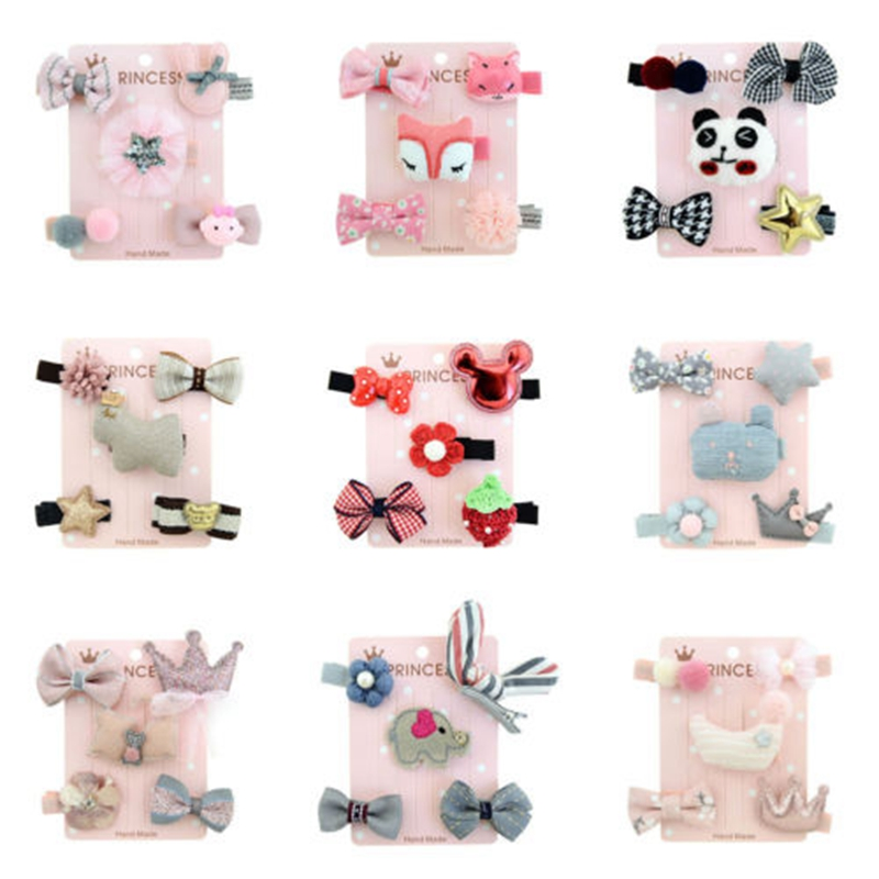 5 Pieces Kids Cute Hairpin Baby Girls Hair Bows Cartoon Animal Motifs Hair Pin Set Cute Casual