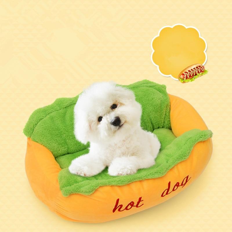 Tapis pour chien Hot Dog chenil lit pour animaux de compagnie coton nid de chat chiot maison iner pliant et nettoyage chenil hiver doux chaud tapis fournitures pour animaux de compagnie