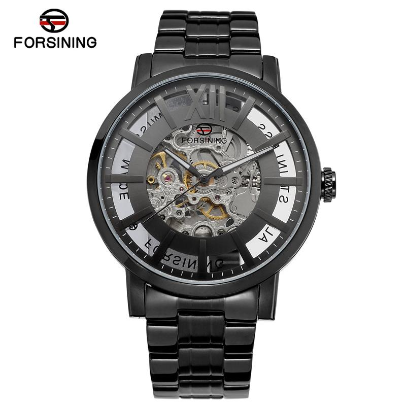 Forsining Black Stainless Steel Hollow Hands Design Unique Obscure Case Mens Automatic Skeleton Wrist Watches Top Brand LuxuryForsining Black Stainless Steel Hollow Hands Design Unique Obscure Case Mens Automatic Skeleton Wrist Watches Top Brand Luxury
