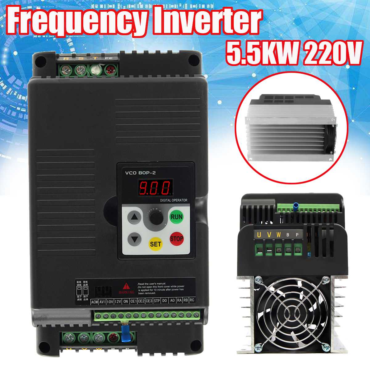 5.5Kw 220V AC Frequency Inverter & Converter Output 3 Phase AC Motor Water Pump Controller Frequency Converter5.5Kw 220V AC Frequency Inverter & Converter Output 3 Phase AC Motor Water Pump Controller Frequency Converter