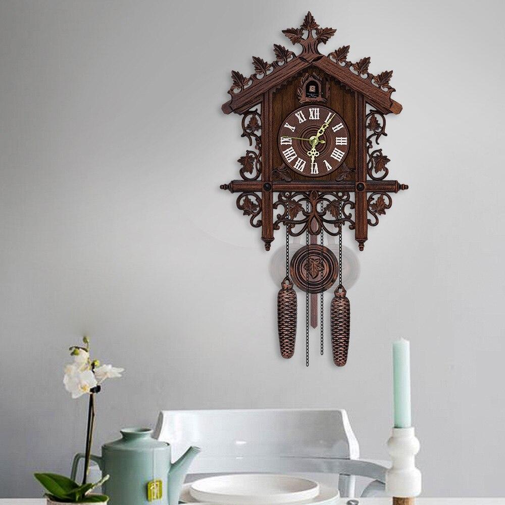 Vintage Handcraft Wood Cuckoo Clock Tree House Swing Wall Clock Art Home Decor Study Bedroom Office Hotel Decoration Brown