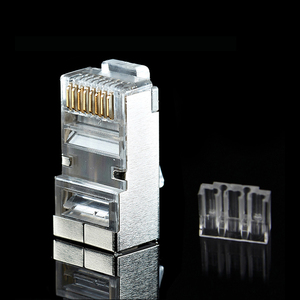Image 3 - xintylink rj45 connector cat6 ethernet cable plug 8P8C metal shielded jack stp rg rj 45 conector lan network cat 6 modular 50pcs