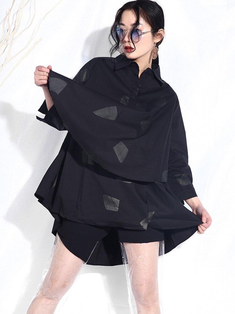 À Irrégulière Grande Mode Été Lanmrem Nouvelle Black Chemisier Printemps Revers 2019 Longues Femme Jg455 Lâche Taille Femelle Impression Chemise Manches R6Xqt6