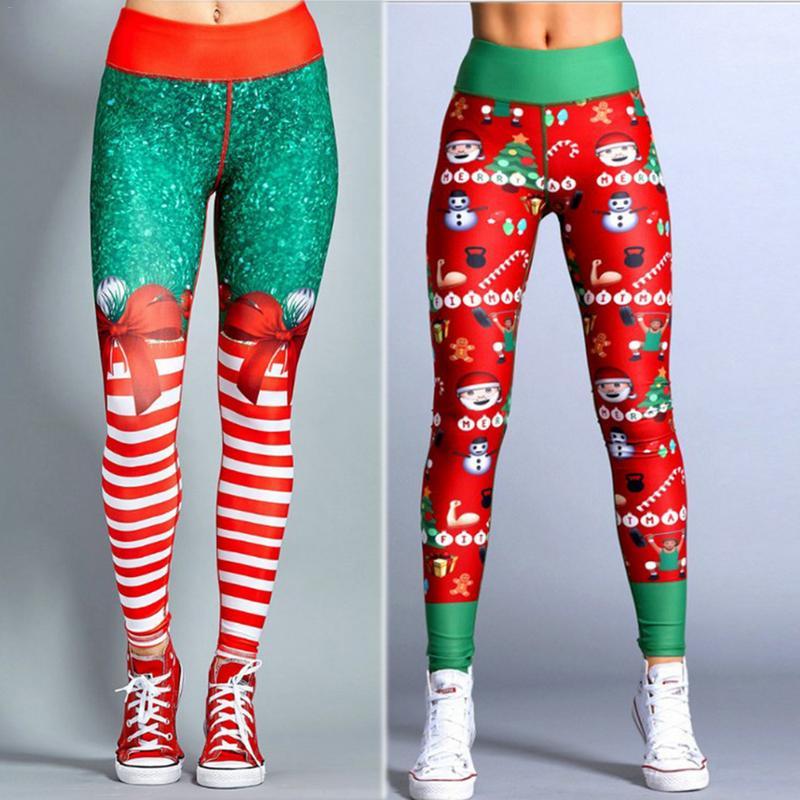 488c9cfbb64b2f 2018 Hayoha Christmas Printing Leggings Put Hip Elastic High Waist Legging  Breathable Merry Christmas Pants 3D Cartoon Joggings -in Leggings from  Women s ...