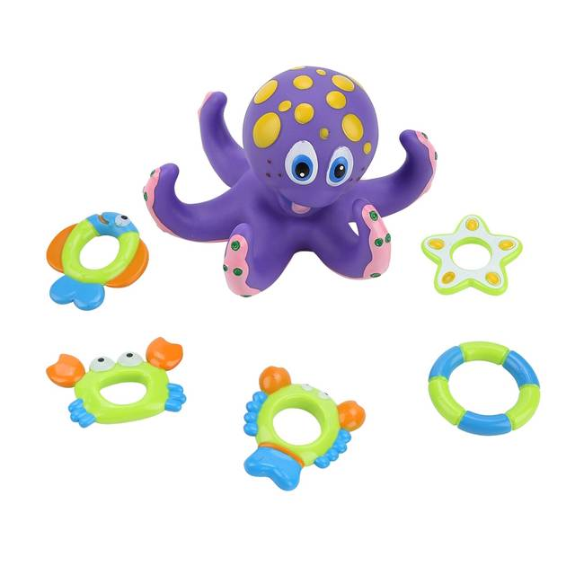 US $5 64 48% OFF|Baby Bath Toy Shrimp Fish Crab Circle Octopus Circle Toys  Children Bathroom Showers Water Toys Bath Birthday Beach Toys-in Bath Toy