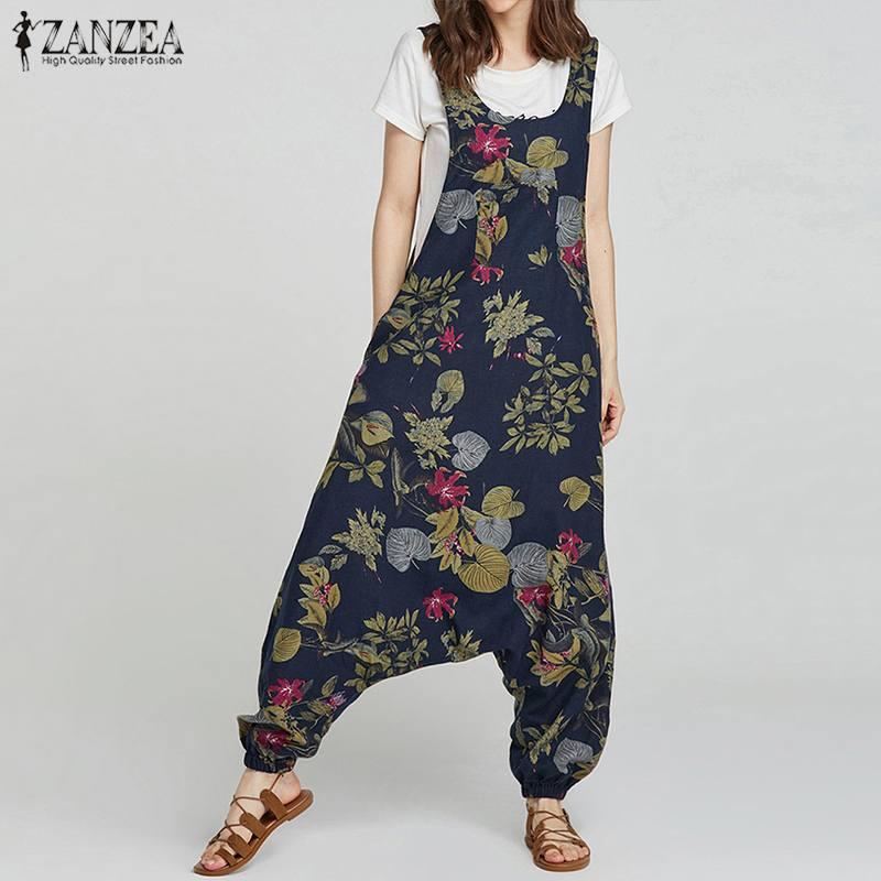 2019 Summer ZANZEA Rompers Womens Jumpsuit Vintage Floral Print Drop-Crotch Long Combinaison Femme Casual Baggy Ladies Jumpsuits