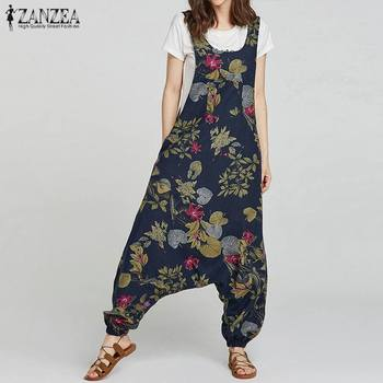 2020 Summer ZANZEA Rompers Womens Jumpsuit Vintage Floral Print Drop-Crotch Long Combinaison Femme Casual Baggy Ladies Jumpsuits
