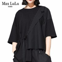 Max LuLu 2019 Luxury Korean Style Clothes Ladies Patchwork Tops Womens Summer Strpied Oversized T shirt Vintage Funny Tee Shirts