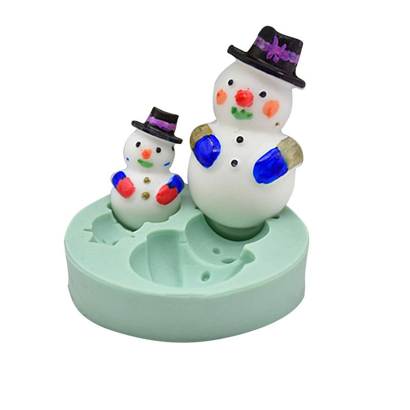 DIY Stereo Two-hole Christmas Snowman Style Baking Cake Chocolate Fondant Aromatherapy Candle Gypsum Clay Mold Silicone Mould