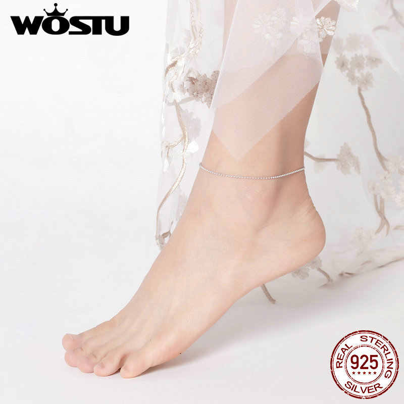 WOSTU Barefoot Sandal Anklet Chain 925 Sterling Silver Anklet Beaded Foot Jewelry For Women Simple Style Anklets Gifts CQT002