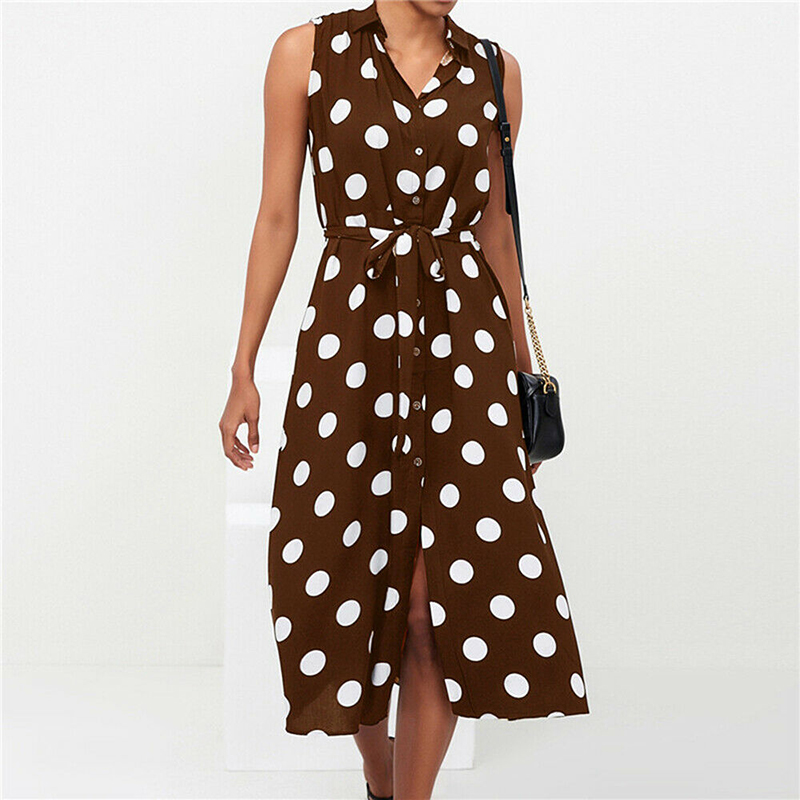 Sexy Split Polka Dot Dress Woman A-Line Dresses Fashion Vestidos Office Ladies Elegant Long Button Beach