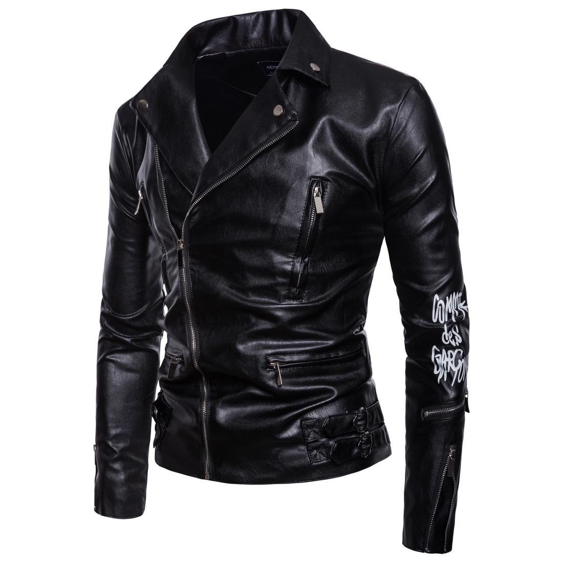 European 2019 Leather jaket men Motorcycle Bomber Dora Chain Printing Clothing Slim fit Male PUNK Halley Leather Jacket Coat