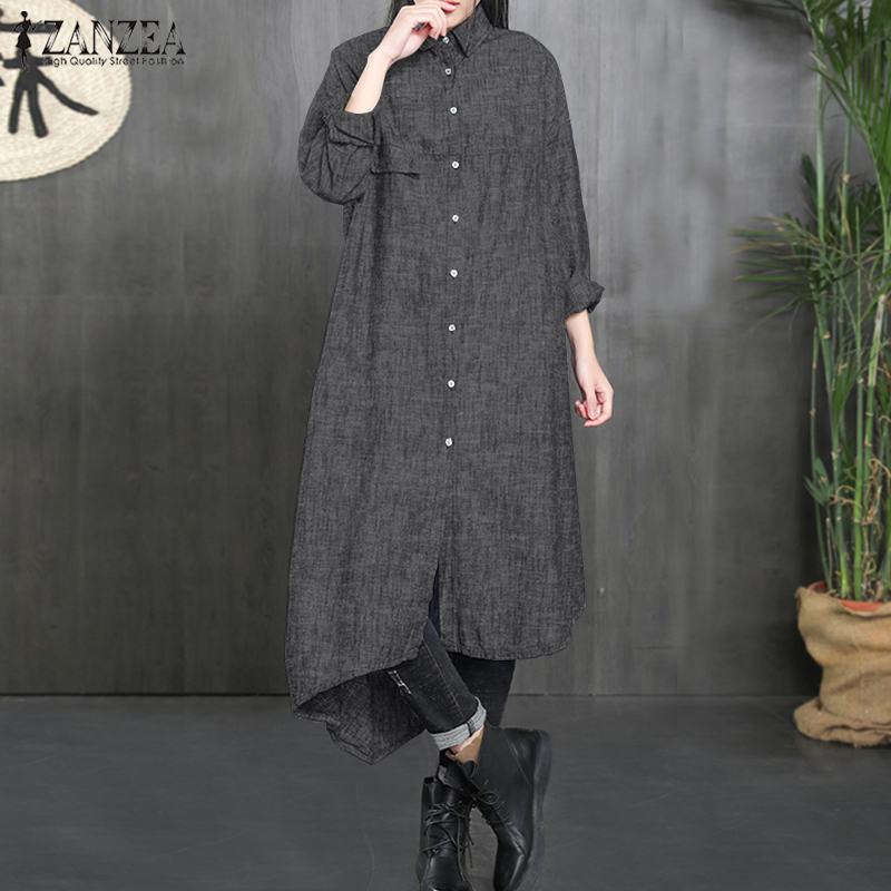 2019 ZANZEA Spring Long Sleeve Long Jackets Women Casual Solid Lapel Loose Coats Outwear Work Buttons Down Irregular Cardigan