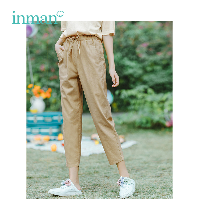 INMAN Summer Medium Waist Slim Retro Hongkong Ttyle All Matched Loose Women Casual Capri Pants