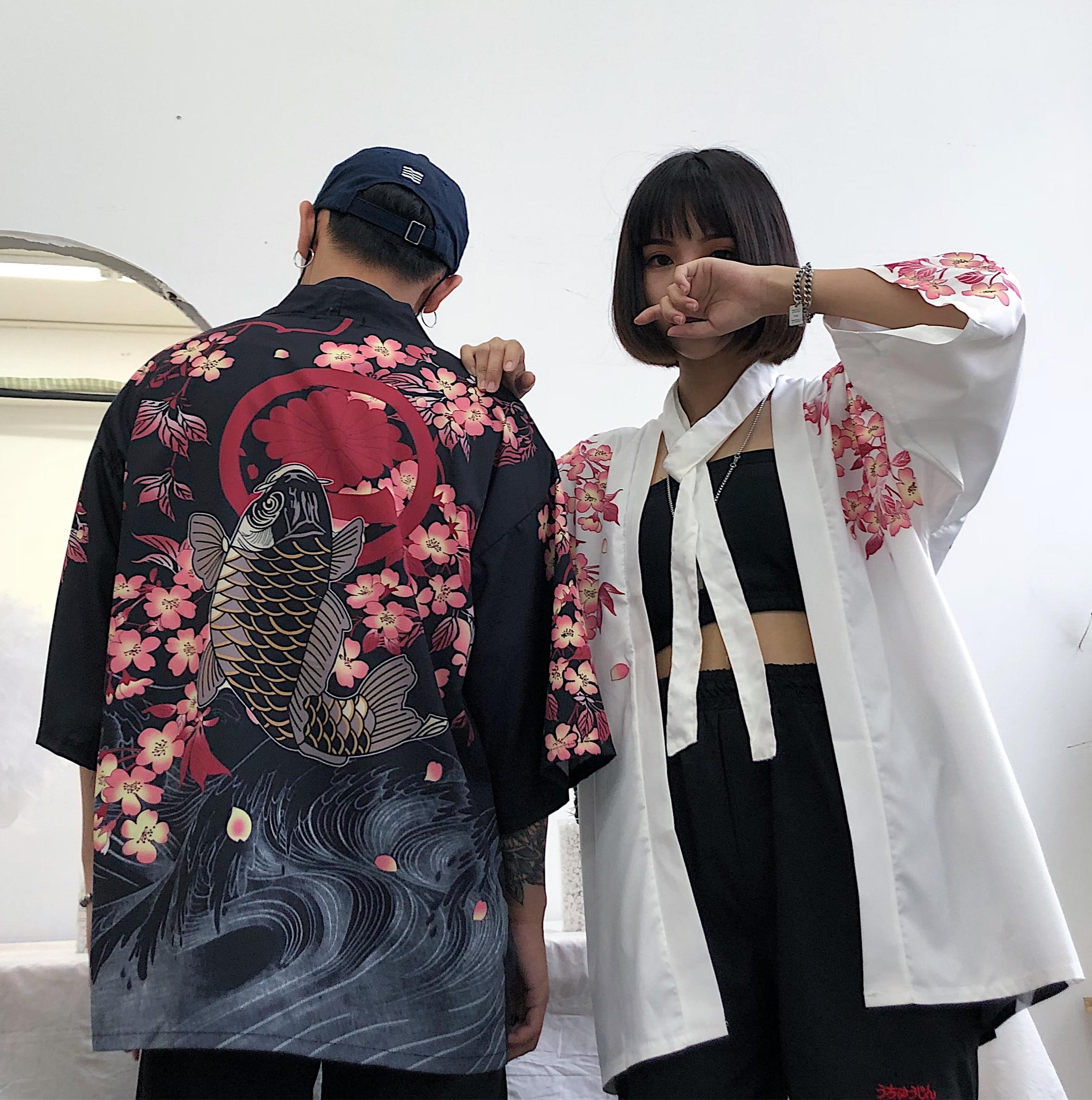 #5438 Summer Harajuku Kimono Blouse Women Man Cardigan Japanese Style Cartoon Printed Vintage Loose Blusa Feminina Streetwear