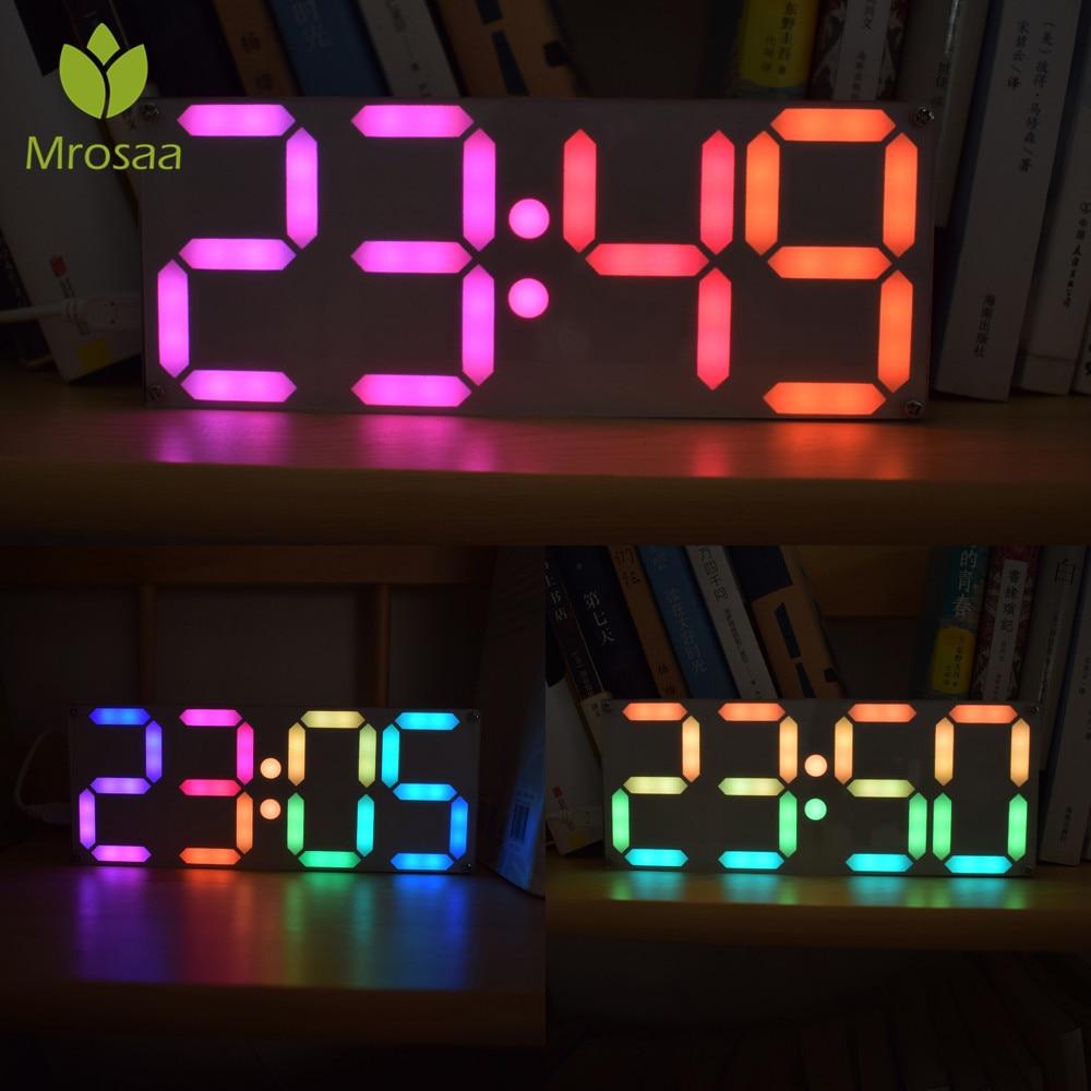 Alta qualidade Tamanho Grande Tubo DS3231 Rainbow Color Digital Alarm Clock de Tempo Kit DIY Data Relógios de Mesa de Mesa LEVOU Exibição