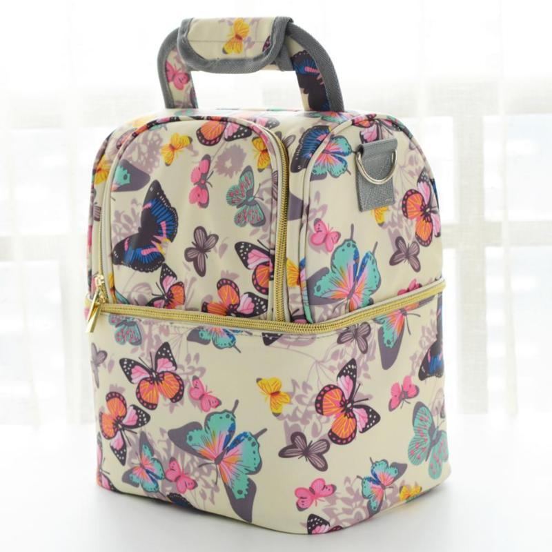 Portable Mommy Diaper Bag Butterfly Print Maternity Storage Bags Large Capacity Thicken Insulation Milk Handbags Set Mother Bag Invigorating Blood Circulation And Stopping Pains