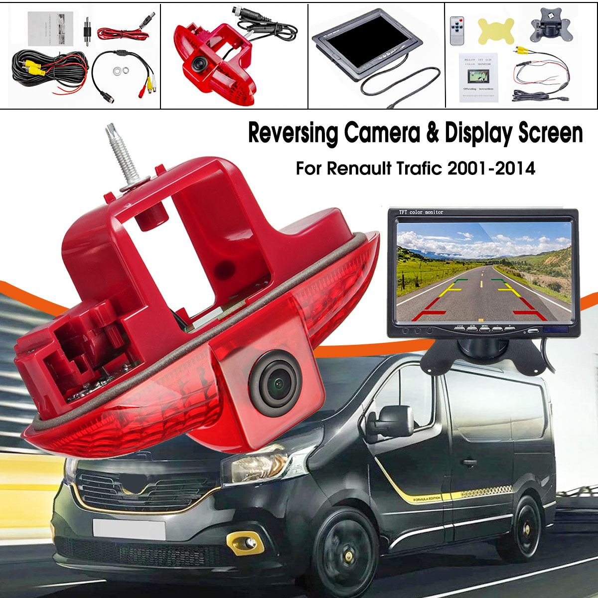 "CCD HD LED Auto Car 7"" Monitor Rear View Camera Reverse Night Vision For Renault Trafic 2001-2014  Trafic Vauxhall Vivaro"