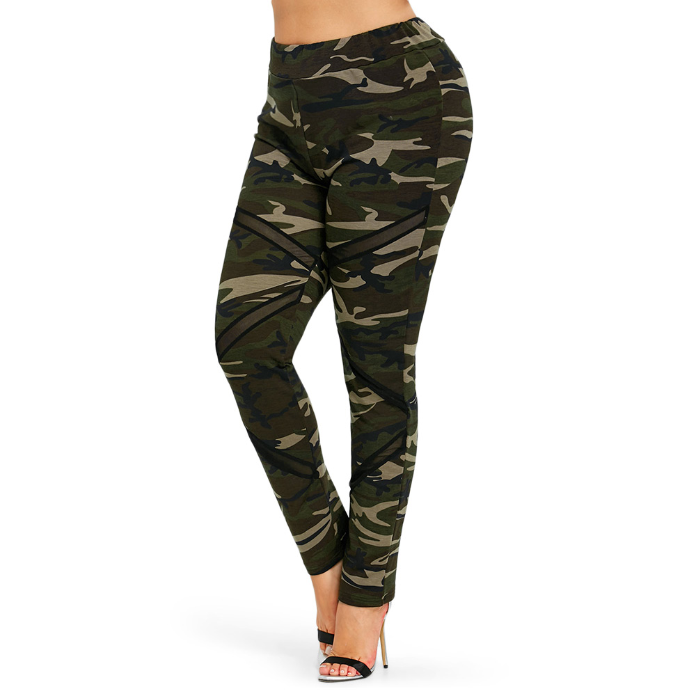 Wipalo Women Mesh Panel Plus Size Camo Leggings Mid Waist Camouflage Pencil Pants Slim Casual Ladies Trousers Big Size 5XL