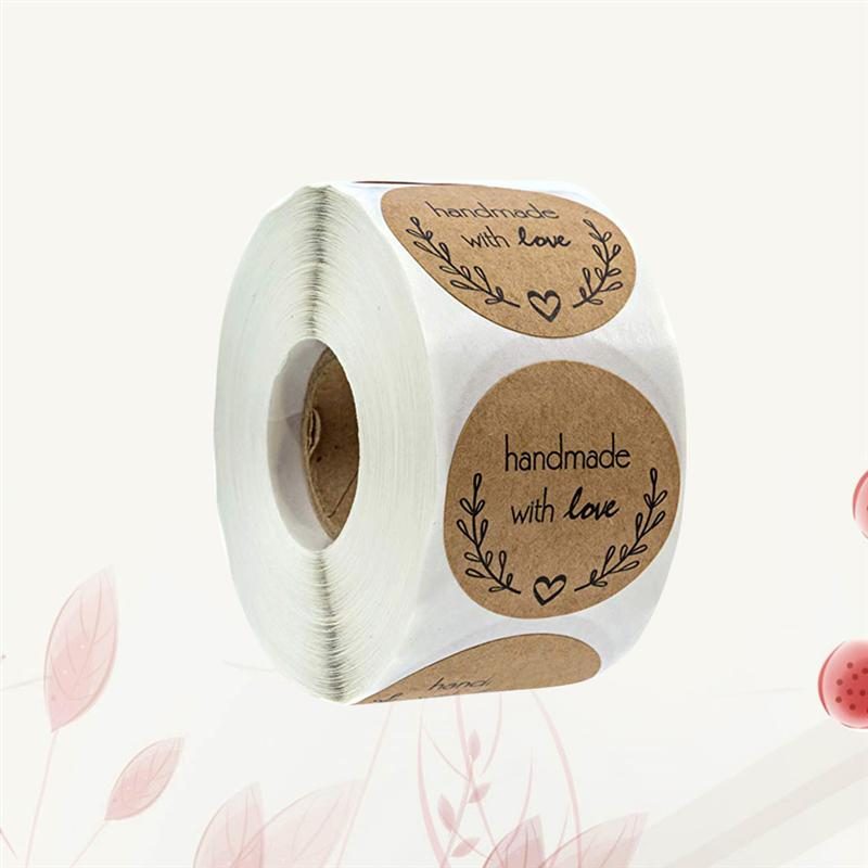 500 Sheets/Roll Round Label Handmade Kraft Paper Packaging Sticker For Candy Bag Gift Box Packing Bag Wedding Thanks Stickers