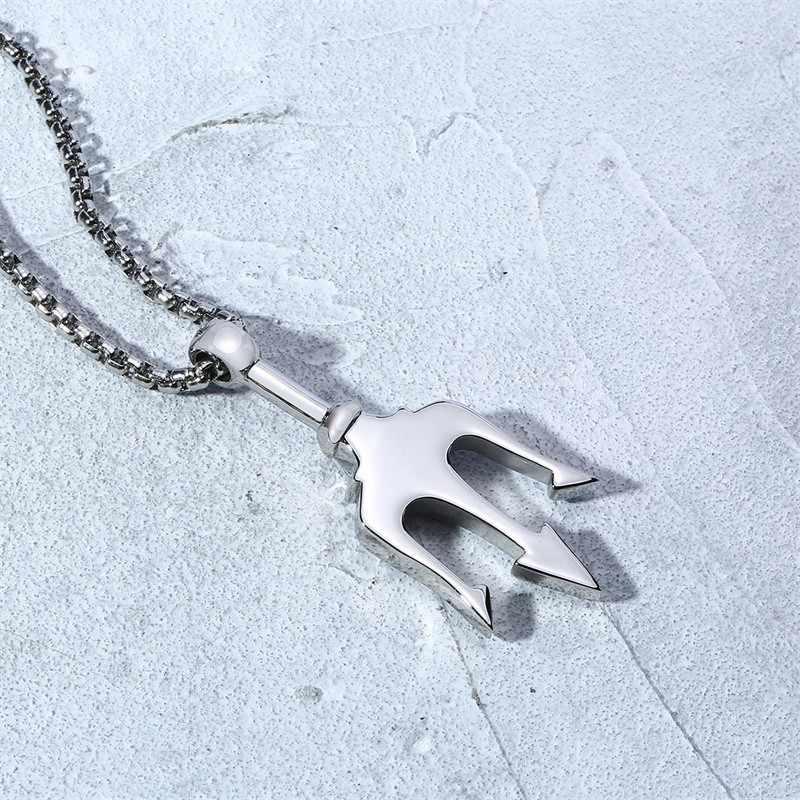 Punk Poseidon Trident naszyjnik mężczyźni wisiorek stal nierdzewna srebrny Tone pirat Fantasy Amulet marynarz biżuteria Amulet 24 calowy łańcuch