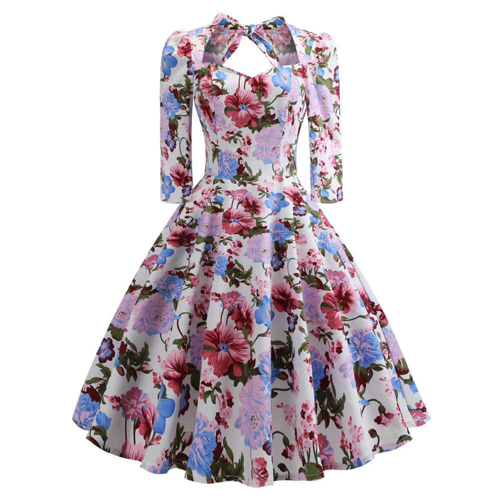 Сексуальная шея возлюбленной Винтаж женское платье Pin up качели Цветочные Половина рукава бантом Vestidos Вечернее рокабилли Ретро платье