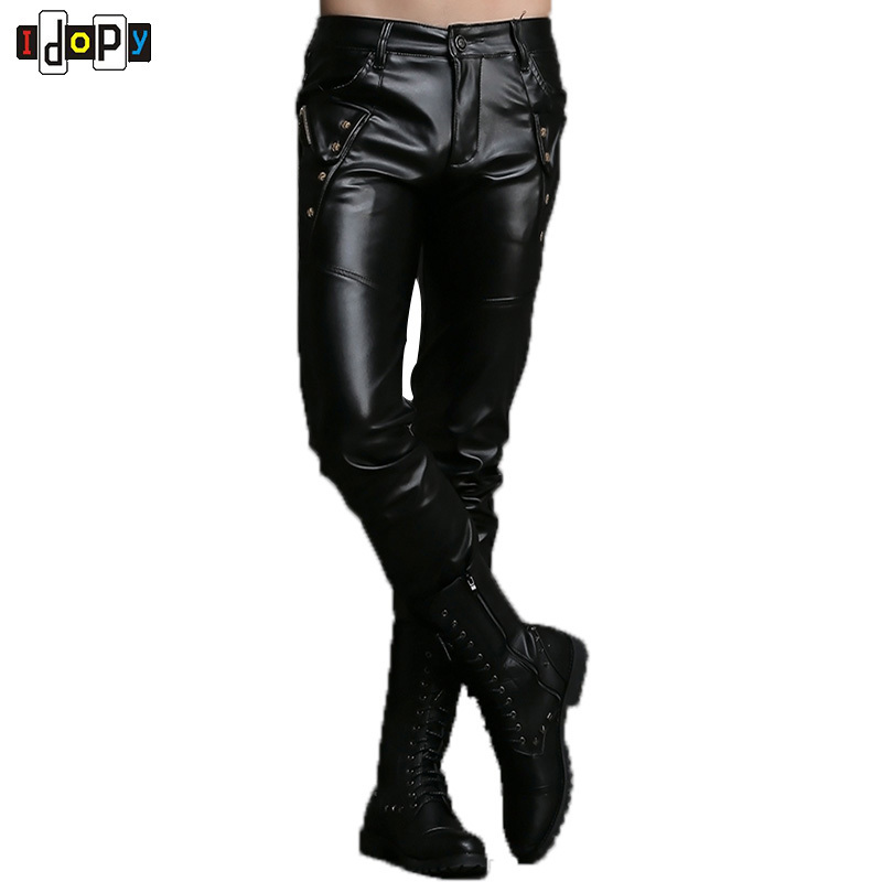 New Autumn&winter Personality Mens Leather Pants Motorcycle Slim Fit Pu Pants Size 27-36 Trousers Black Joggers Pants For Men