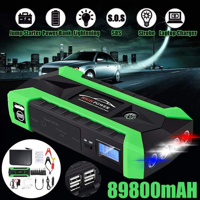 Multifunction Jump Starter 89800mAh 12V 4 USB 600A Portable Power Bank Car Battery Booster Charger Starting Device
