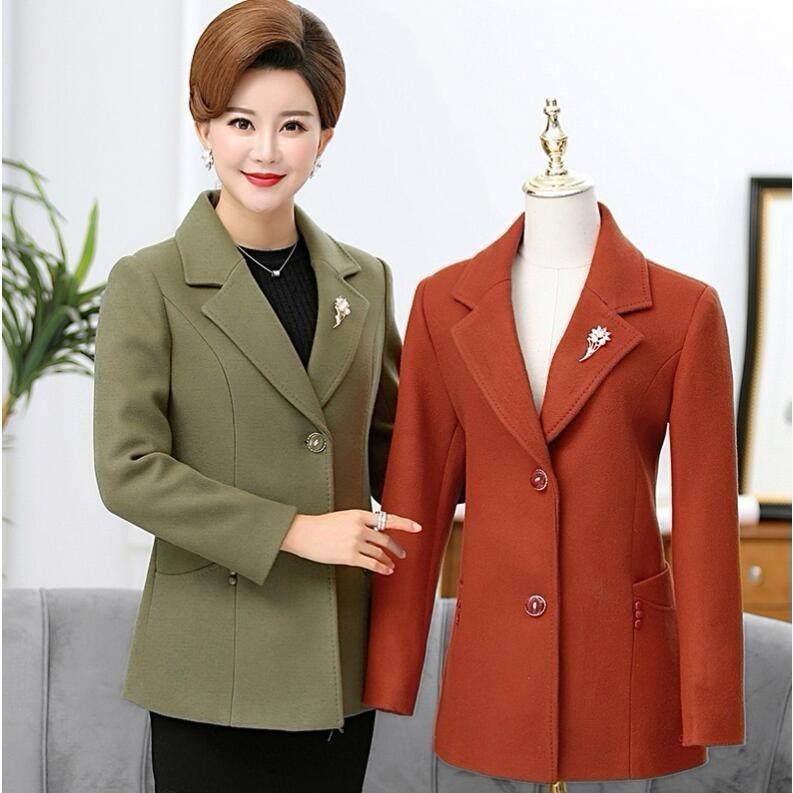 Autumn Winter Fashion Women Casual Jackets Long Sleeve Blazer Outwear Female Elegant Wool Single Breasted Coat