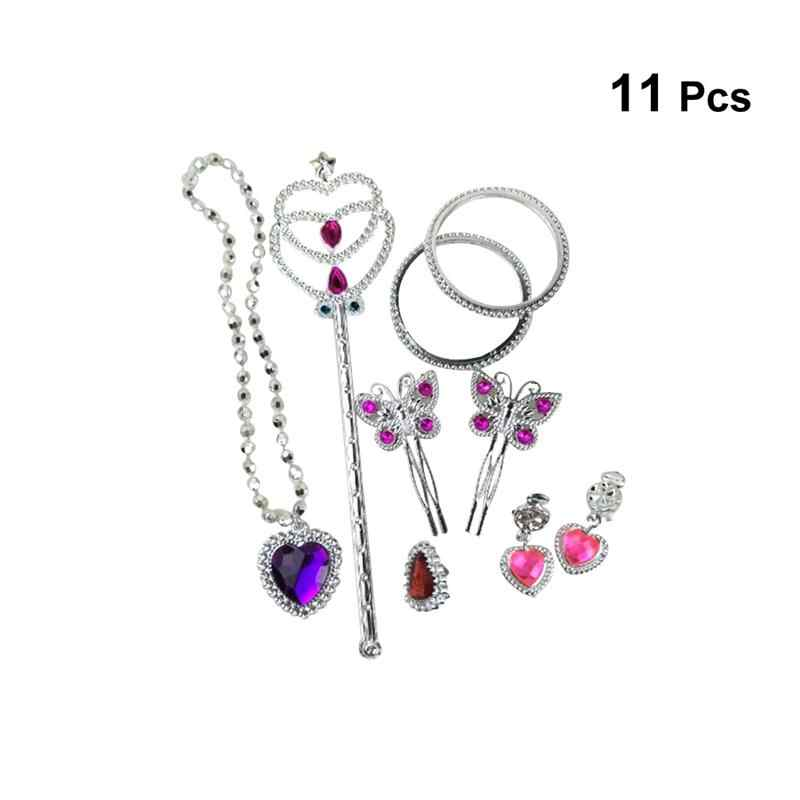 11pcs Dress Up Accessories Plastic Eye-catching Earrings Bracelet Hair Clip Fairy Stick Dress Up Pretend Play Birthday Party