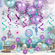 Oceanic Mermaid Girl Birthday Party Decoration little Sea Banner Garlands Cake Toppers Supplies