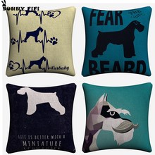 цена на Geometric Schnauzer Dog Cushion Covers Decorative Square Throw Pillow Cover Chair Sofa Cotton Linen Pillowcase